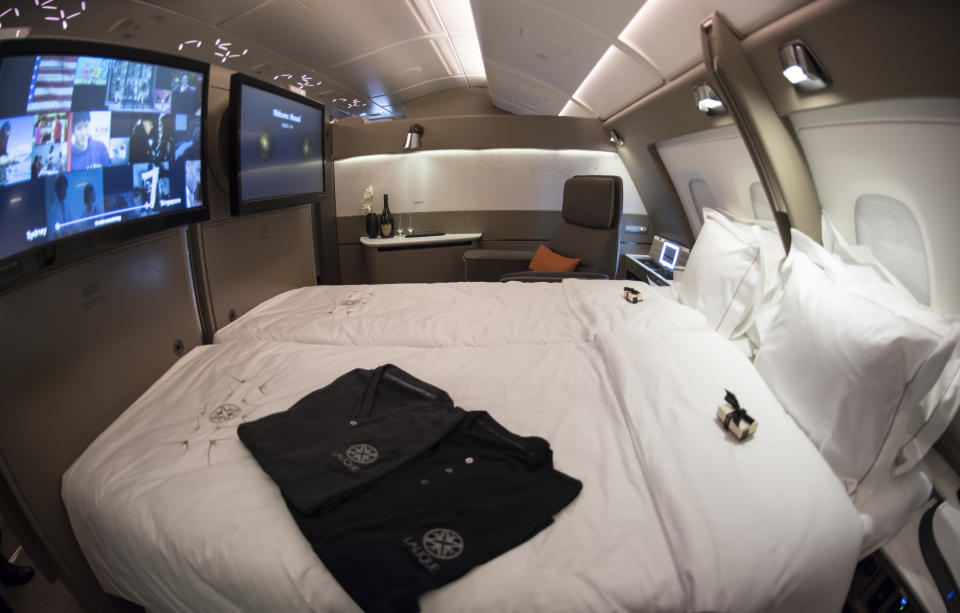 SYDNEY, AUSTRALIA - DECEMBER 19:  The latest First Class suite option for travellers is unveiled on the tarmac at the International Terminal during the Singapore Airlines New A380 Launch at Sydney International Airport on December 19, 2017 in Sydney, Australia. The new A380 will take its inaugural flight as SQ232 to Singapore on the same day. Inside the aircraft it has new First Class suites, new business class, new premium economy and economy seating.  (Photo by James D. Morgan/Getty Images)