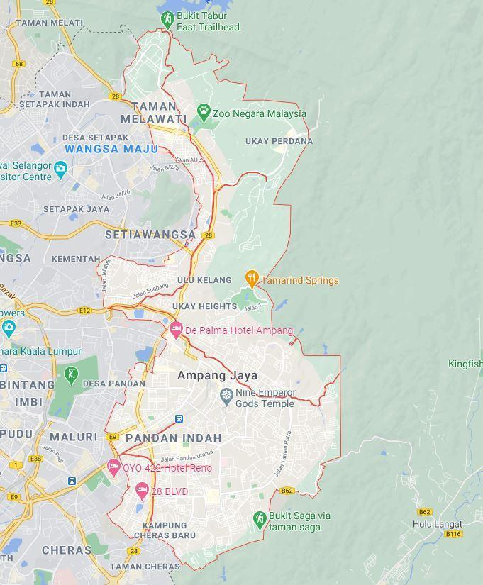 Map of Ampang. Photo: Google Maps