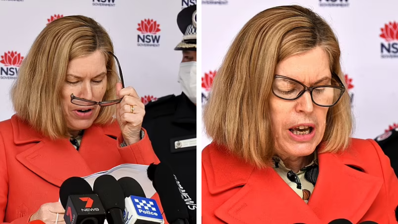 Double image of NSW CHO Dr Kerry Chant with broken glasses