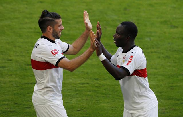 Soccer Football - Bundesliga - Bayern Munich v VfB Stuttgart - Allianz Arena, Munich, Germany - May 12, 2018 Stuttgart's Chadrac Akolo celebrates scoring their third goal REUTERS/Michaela Rehle DFL RULES TO LIMIT THE ONLINE USAGE DURING MATCH TIME TO 15 PICTURES PER GAME. IMAGE SEQUENCES TO SIMULATE VIDEO IS NOT ALLOWED AT ANY TIME. FOR FURTHER QUERIES PLEASE CONTACT DFL DIRECTLY AT + 49 69 650050