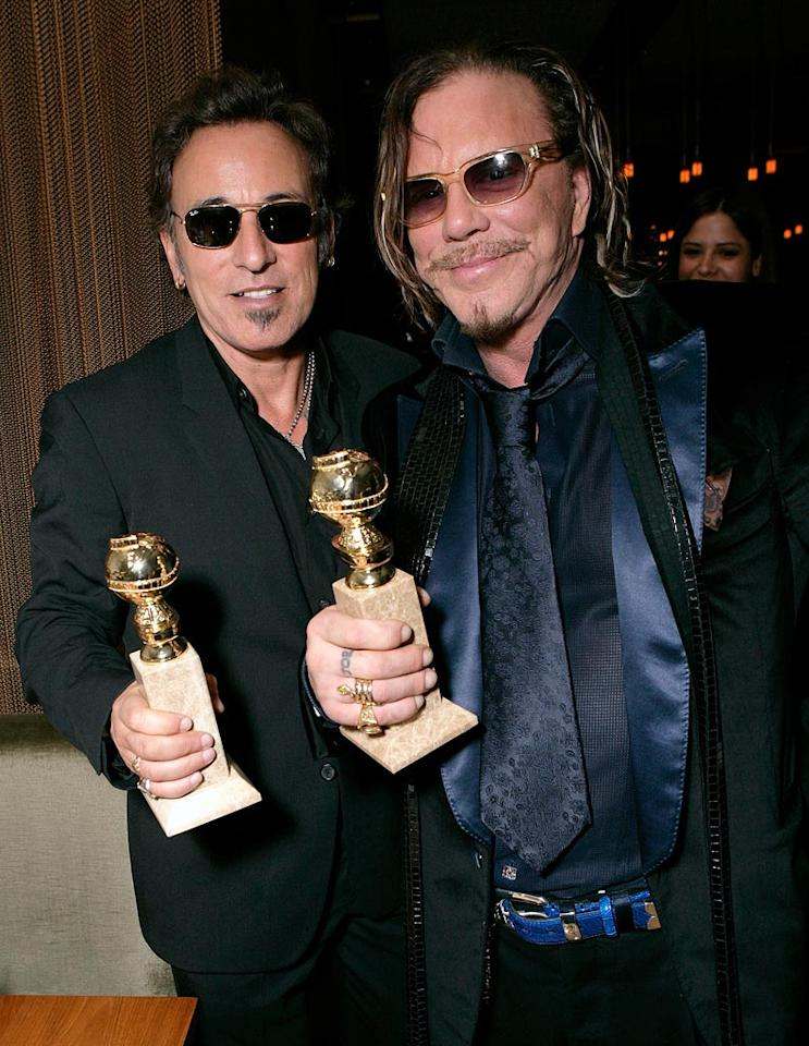"Bruce Springsteen and Mickey Rourke celebrated Mickey's comeback at Craft. Todd Williamson/<a href=""http://www.wireimage.com"" target=""new"">WireImage.com</a> - January 1, 2009"