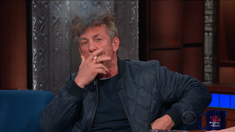 The actor happily puffed away on a cigarette. Source: YouTube / The Late Show with Stephen Colbert