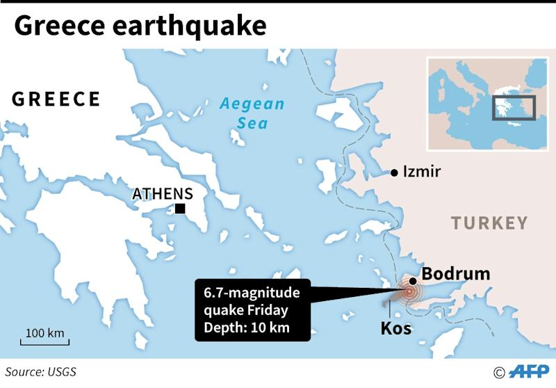 Two killed in 67 magnitude quake off greece and turkey resorts map locating a 67 magnitude quake near the greek island of kos gumiabroncs Gallery