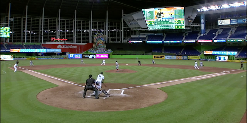 The Marlins and Nationals played in a nearly empty stadium in Miami with Hurricane Irma looming