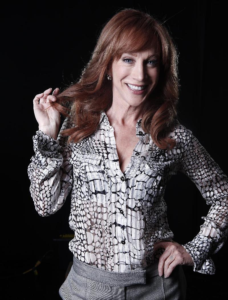 """In this April 4, 2012 photo, comedian and Bravo TV personality Kathy Griffin poses for a portrait in New York.  Griffin's new weekly talk show on Bravo """"Kathy"""" premieres Thursday, April 19.  (AP Photo/Carlo Allegri, file)"""