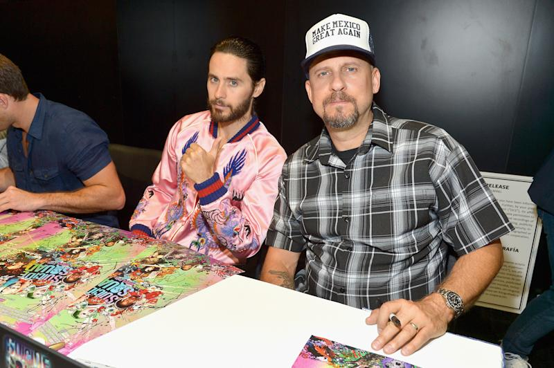 Jared Leto and director David Ayer from the cast of 'Suicide Squad' in DC's 2016 Comic-Con booth. (Photo by Charley Gallay/Getty Images for DC Entertainment)