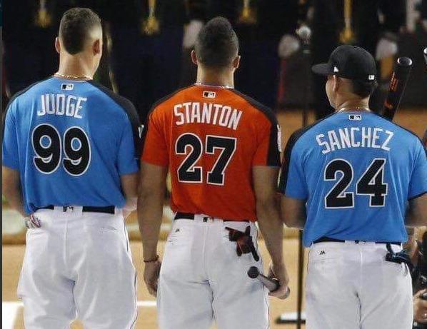 The Yankees power-hitting trio of Aaron Judge, Giancarlo Stanton and Gary Sanchez is a big reason why fans are tuning in in record numbers during spring training. (AP)