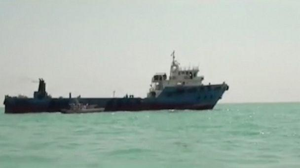 This undated image made from a video provided by the IRGC/IRIB shows a ship in the Persian Gulf. Iranian forces seized the ship, which it suspected of carrying smuggled fuel, state media reported Sunday, Aug. 4, 2019, marking the Revolutionary Guard' (The Associated Press)