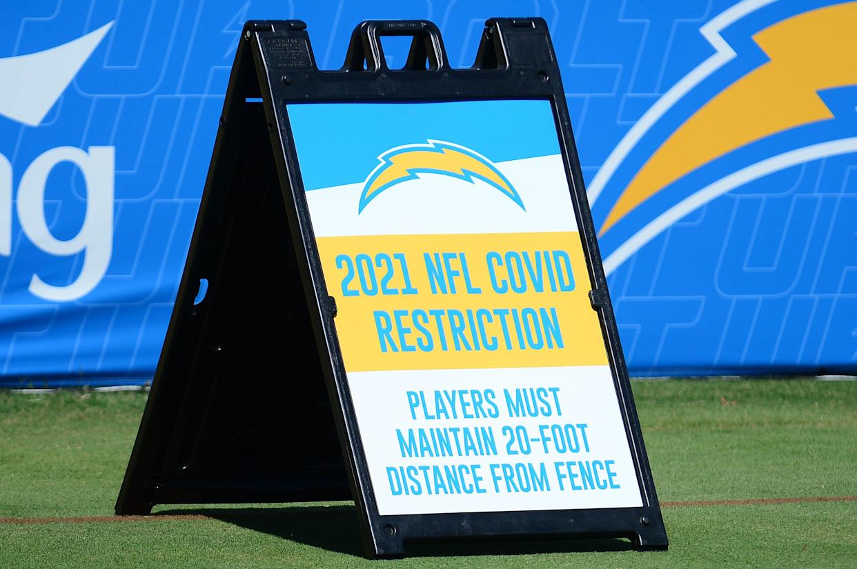 Jul 29, 2021; Costa Mesa, CA, United States; Sign highlighting COVID-19 restrictions at Los Angeles Chargers camp at Jack Hammett Sports Complex. Mandatory Credit: Gary A. Vasquez-USA TODAY Sports