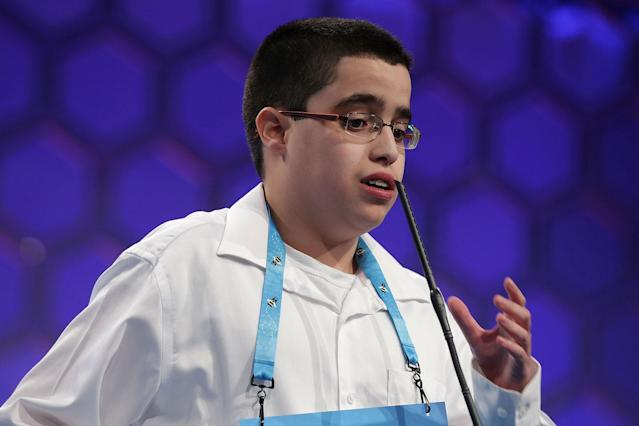 <p>Julian Joseph Connaughton of Shohola, Pa., spells his word during round two of 2017 Scripps National Spelling Bee. (Alex Wong/Getty Images) </p>