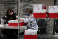 Lehigh County workers count ballots as vote counting in the general election continues, Thursday, Nov. 5, 2020, in Allentown, Pa. (AP Photo/Mary Altaffer)