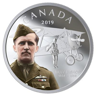 The Royal Canadian Mint's silver collector coin celebrating the 125th anniversary of the birth of Billy Bishop