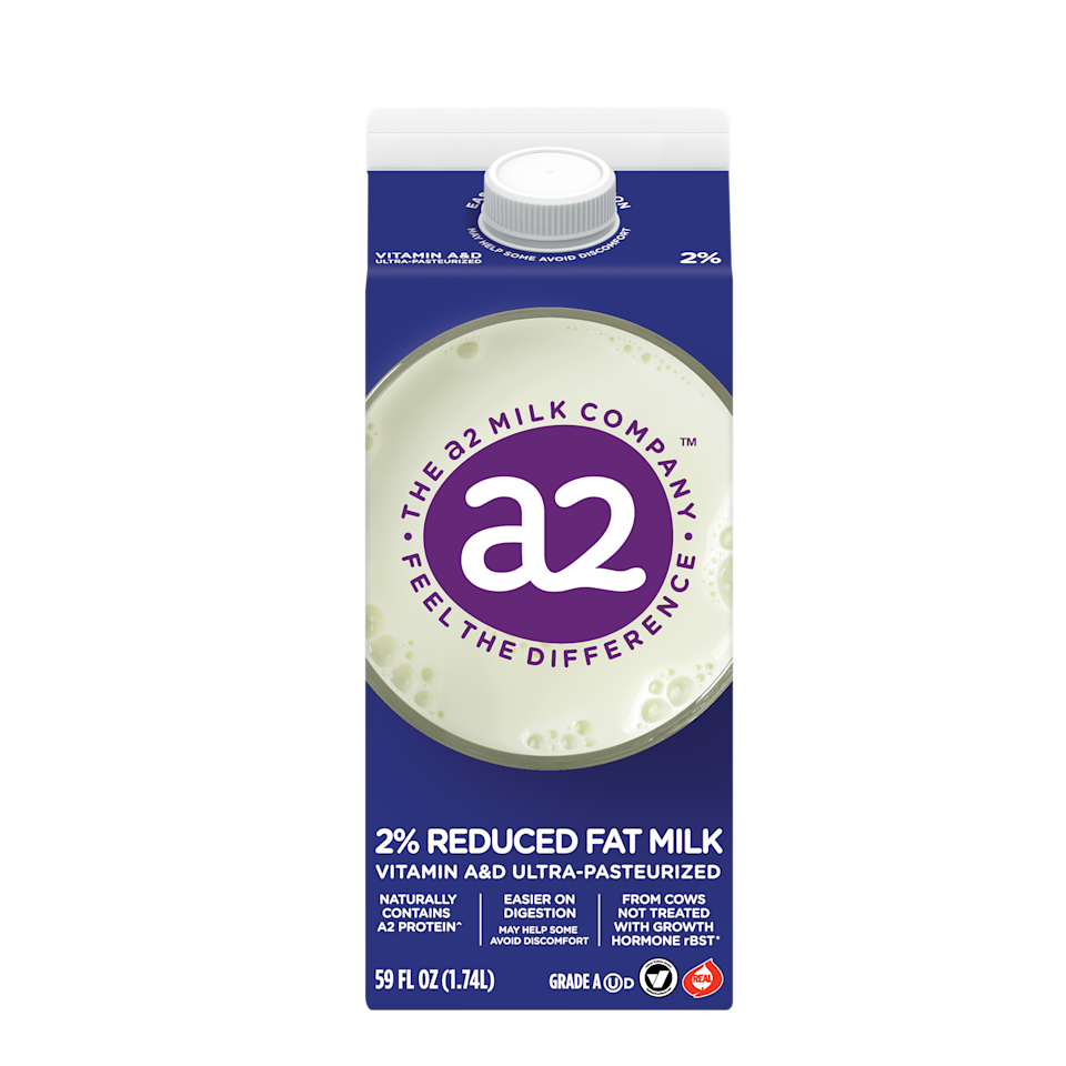 """<p><strong>A2 MILK</strong></p><p>walmart.com</p><p><a href=""""https://go.redirectingat.com?id=74968X1596630&url=https%3A%2F%2Fwww.walmart.com%2Fip%2F139989750&sref=https%3A%2F%2Fwww.redbookmag.com%2Ffood-recipes%2Fg35362014%2Fanti-bloating-foods%2F"""" rel=""""nofollow noopener"""" target=""""_blank"""" data-ylk=""""slk:Shop Now"""" class=""""link rapid-noclick-resp"""">Shop Now</a></p><p>Lactose is almost always blamed for why milk gives some people stomach woes, but <a href=""""https://www.ncbi.nlm.nih.gov/pubmed/27039383"""" rel=""""nofollow noopener"""" target=""""_blank"""" data-ylk=""""slk:evidence suggests"""" class=""""link rapid-noclick-resp"""">evidence suggests</a> that another culprit–A1 beta-casein protein–in milk can also bring on bloating, abdominal pain, and other undesirable symptoms. </p><p>This A2 milk is sourced from cows that naturally produce milk that is free from the potential tummy-troubling protein. So if lactose-free milk still doesn't give you relief, it's worth trying this drink that harbors only A2 beta-casein protein in your cereal and post-ride smoothies. A <a href=""""https://www.mdpi.com/2072-6643/9/2/94"""" rel=""""nofollow noopener"""" target=""""_blank"""" data-ylk=""""slk:study"""" class=""""link rapid-noclick-resp"""">study</a> in the journal <em>Nutrients</em> found that drinking A2 milk after a workout is just as good at improving muscle recovery as is regular milk. </p>"""