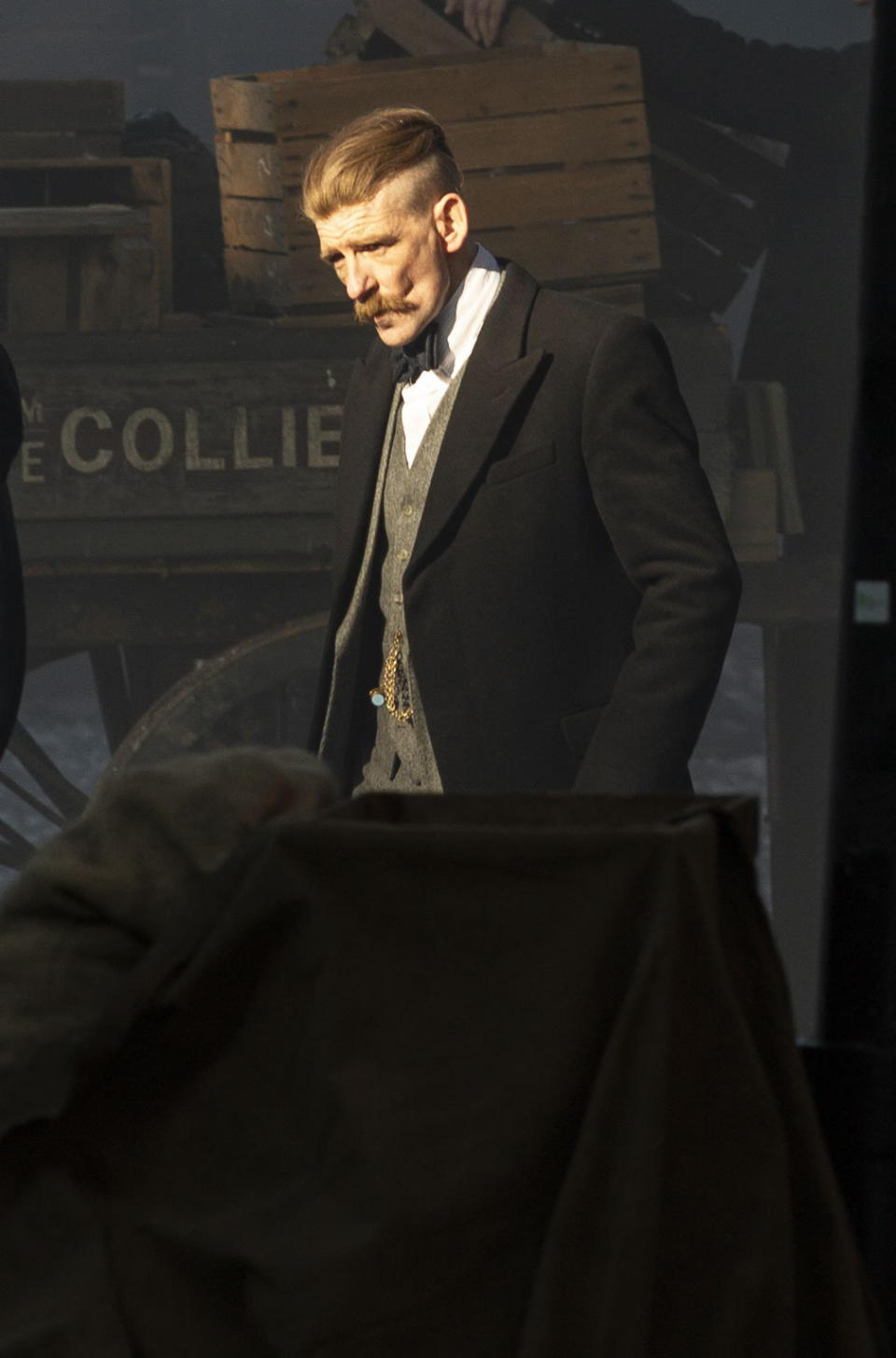 Paul Anderson, who plays Arthur Shelby, prepares for a scene. The filming of Peaky Bliders season 6 continues, in Manchester, pictured in Greater Manchester, March 2 2021. (SWNS)