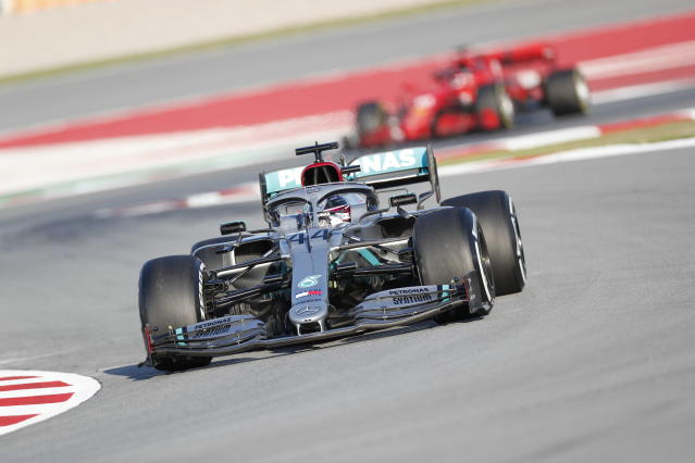 Mercedes-AMG Petronas' Lewis Hamilton drives during a Formula One pre-season testing session at the Barcelona Catalunya racetrack in Montmelo, outside Barcelona, Spain, Wednesday, Feb. 19, 2020. (AP Photo/Joan Monfort)