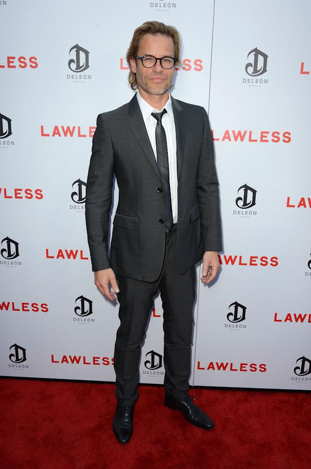 """HOLLYWOOD, CA - AUGUST 22: Actor Guy Pearce arrives at the Premiere of the Weinstein Company's """"Lawless"""" at ArcLight Cinemas on August 22, 2012 in Hollywood, California.  (Photo by Frazer Harrison/Getty Images)"""