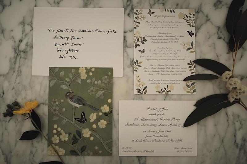 """I based much of the wedding ephemera on my favorite de Gournay Chinoiserie wallpaper—the same hand-painted design installed within my bedroom. """"Temple Newsam"""" is filled with flowers and birds in soft greens, yellows, and whites, and a small section was painted by hand onto each and every invitation. This summery palette was the starting point for the rest of the wedding scheme."""