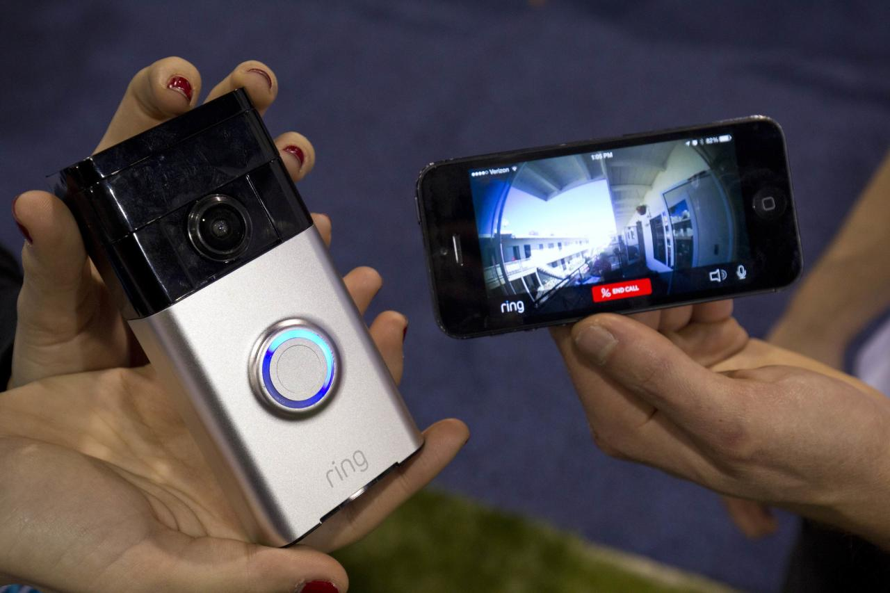 A Ring video doorbell (L) is displayed during the 2015 International Consumer Electronics Show (CES) in Las Vegas, Nevada January 7, 2015. The doorbell connects with home Wi-Fi to send a video call to the homeowner's smartphone. The doorbell retails for $199.00 and should be in stores in the second quarter of 2015, a representative said.  REUTERS/Steve Marcus (UNITED STATES - Tags: SCIENCE TECHNOLOGY BUSINESS)