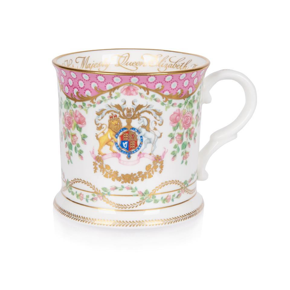 EMBARGOED TO 0001 SATURDAY MARCH 27 For single use only, not to be archived, sold on or used out of context. Undated handout photo issued by the Royal Collection Trust showing a tankard from the official range of china to celebrate the 95th birthday of The Queen. The range of china drew inspiration from the Queen's roses at Windsor Castle and items in the Royal Collection and is available to buy from Saturday, ahead of the QueenÕs 95th birthday on April 21. Issue date: Saturday March 27, 2021.