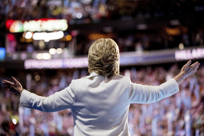 Hillary Clintontakes the stage to speak