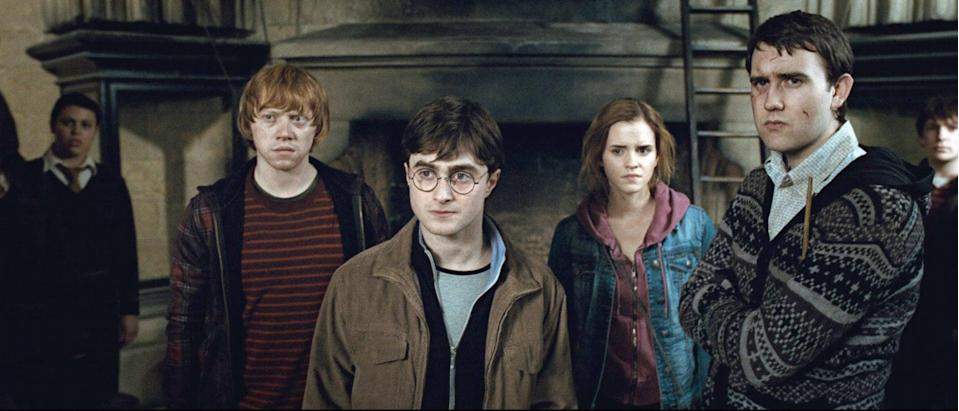 """<p><strong>HBO Max's Description:</strong> """"The battle between the good and evil forces of the wizarding world escalates into an all-out war. The stakes have never been higher and no one is safe. But it is Harry Potter who may be called upon to make the ultimate sacrifice as he draws closer to the climactic showdown with Lord Voldemort. It all ends here.""""</p> <p><a href=""""https://play.hbomax.com/feature/urn:hbo:feature:GXssRwQESq8NMvwEAAABY"""" class=""""link rapid-noclick-resp"""" rel=""""nofollow noopener"""" target=""""_blank"""" data-ylk=""""slk:Watch Harry Potter and the Deathly Hallows: Part 2 (rated PG-13) on HBO Max"""">Watch <strong>Harry Potter and the Deathly Hallows: Part 2</strong> (rated PG-13) on HBO Max</a> before it leaves the service in September.</p>"""