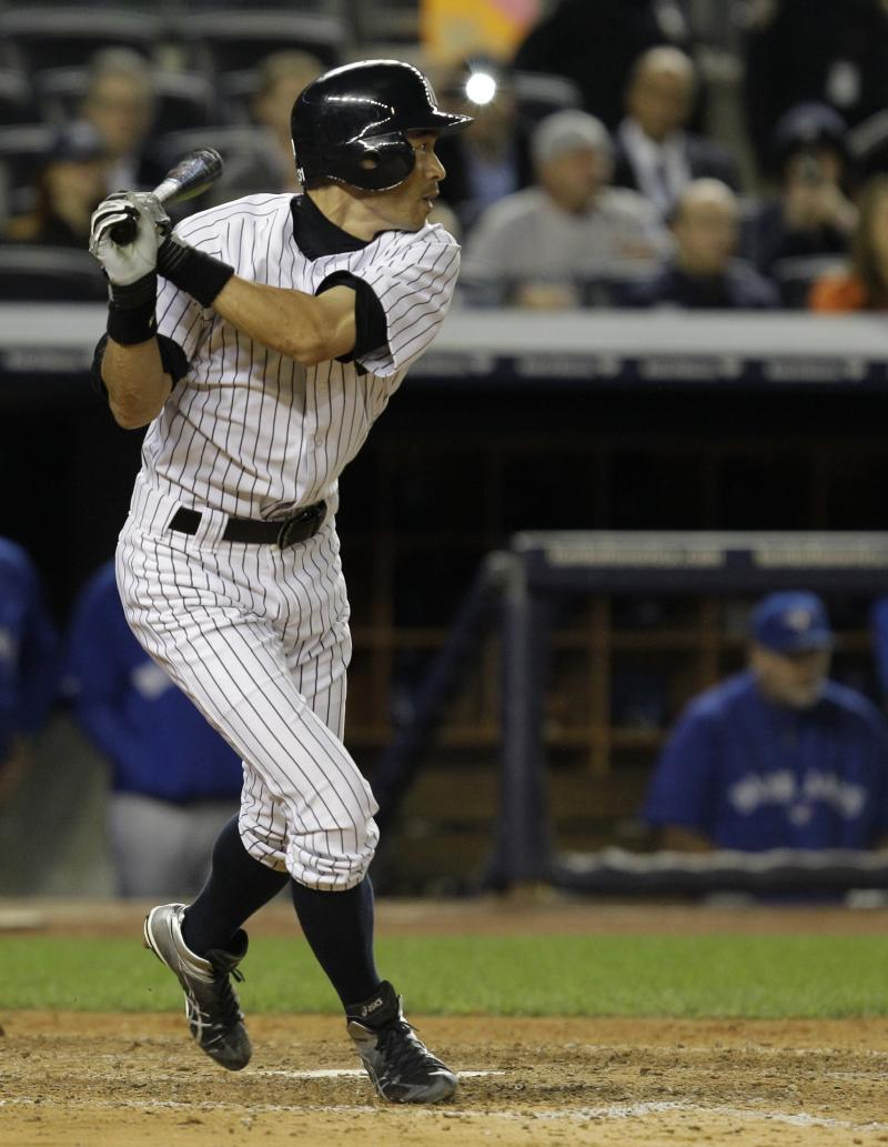 New York Yankees' Ichiro Suzuki watches his eighth-inning RBI-single against the Toronto Blue Jays in  Game 2 of a baseball doubleheader at Yankee Stadium in New York, Wednesday, Sept. 19, 2012.  Suzuki had the winning hit and four stolen bases in the Yankees' victory. (AP Photo/Kathy Willens)