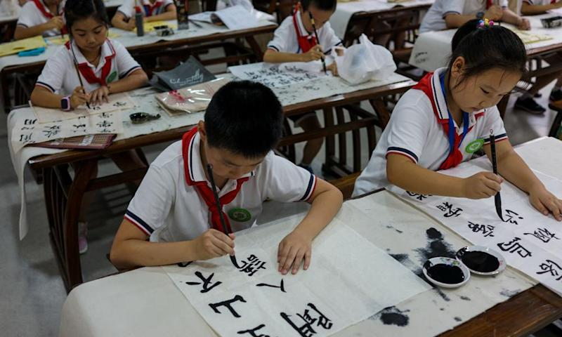 Students at a school in Shanghai.