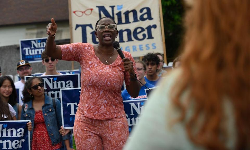Nina Turner speaks at a campaign stop in Cleveland.