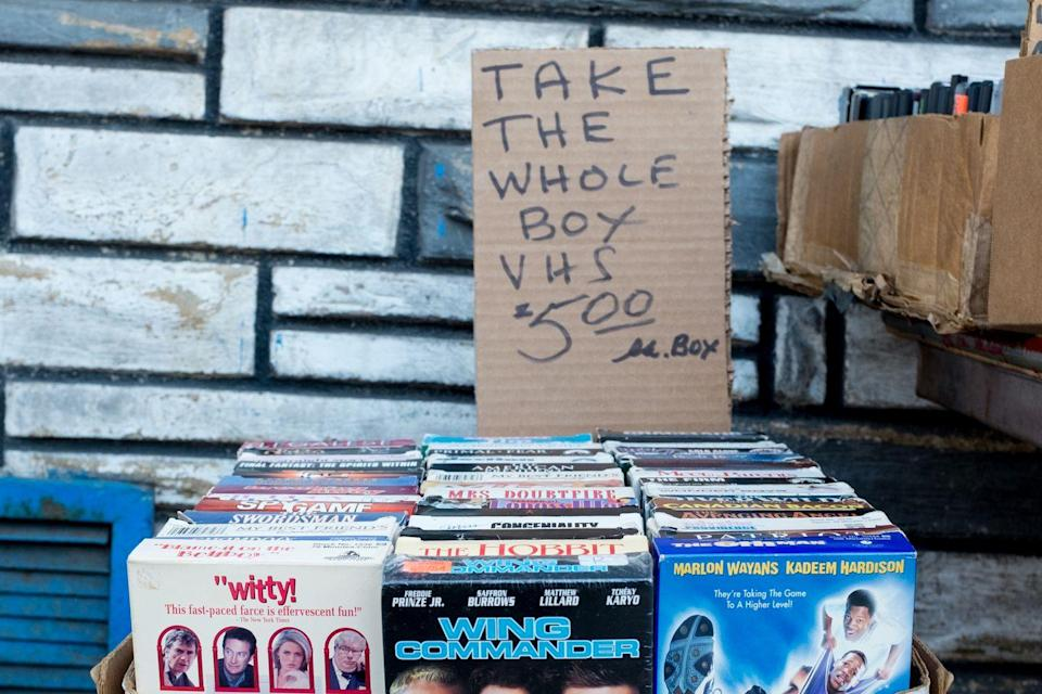 """<p>Obsolete technology or not, collectors will pay serious cash for rare VHS tapes. As you paw though the piles of them you often see at garage sales, look for Disney """"Black Diamond"""" editions of movies like <em>The Fox and the Hound</em>. It's <a href=""""https://www.buzzfuse.net/100-1/50-most-valuable-vhs-tapes-that-you-could-sell-for-a-fortune/"""" rel=""""nofollow noopener"""" target=""""_blank"""" data-ylk=""""slk:estimated to be worth"""" class=""""link rapid-noclick-resp"""">estimated to be worth</a> nearly $1,500.</p>"""