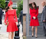 <p>This red pleated Alexander McQueen dress has been seen multiple times on Duchess Kate, at the Anna Freud Family Christmas Party in 2015 and while celebrating the Diamond Jubilee in June 2012. </p>