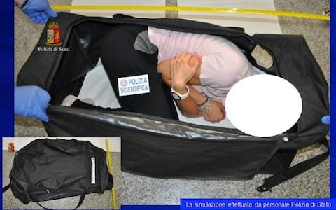 Images supplied by Italian police showing a simulation of the kidnapping - Credit: Polizia Di Stato