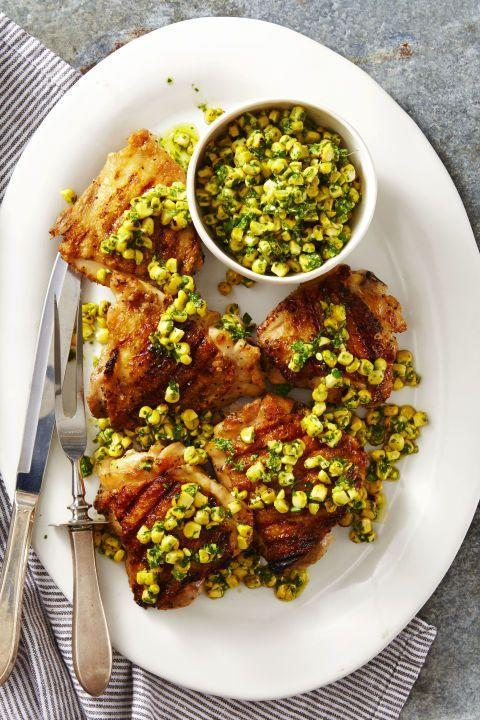 """<p>In just 20 minutes, this main course filled with fresh ingredients will be all yours. </p><p><em><a href=""""https://www.goodhousekeeping.com/food-recipes/a40851/grilled-chicken-with-herbed-corn-salsa-recipe/"""" rel=""""nofollow noopener"""" target=""""_blank"""" data-ylk=""""slk:Get the recipe for Grilled Chicken with Herbed Corn Salsa »"""" class=""""link rapid-noclick-resp"""">Get the recipe for Grilled Chicken with Herbed Corn Salsa »</a></em></p>"""