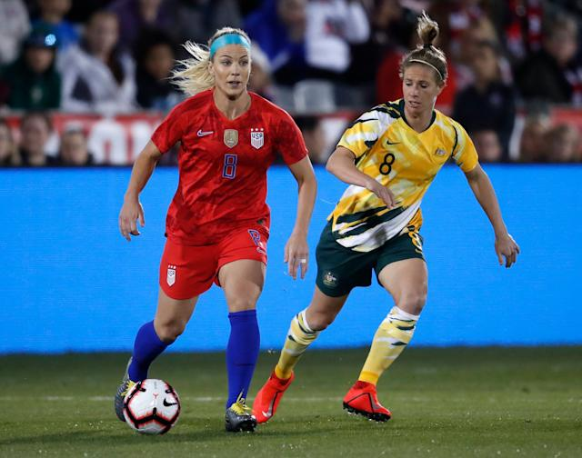 Julie Ertz (8) knows the USWNT needs to improve both defensively and in the midfield. (Associated Press)
