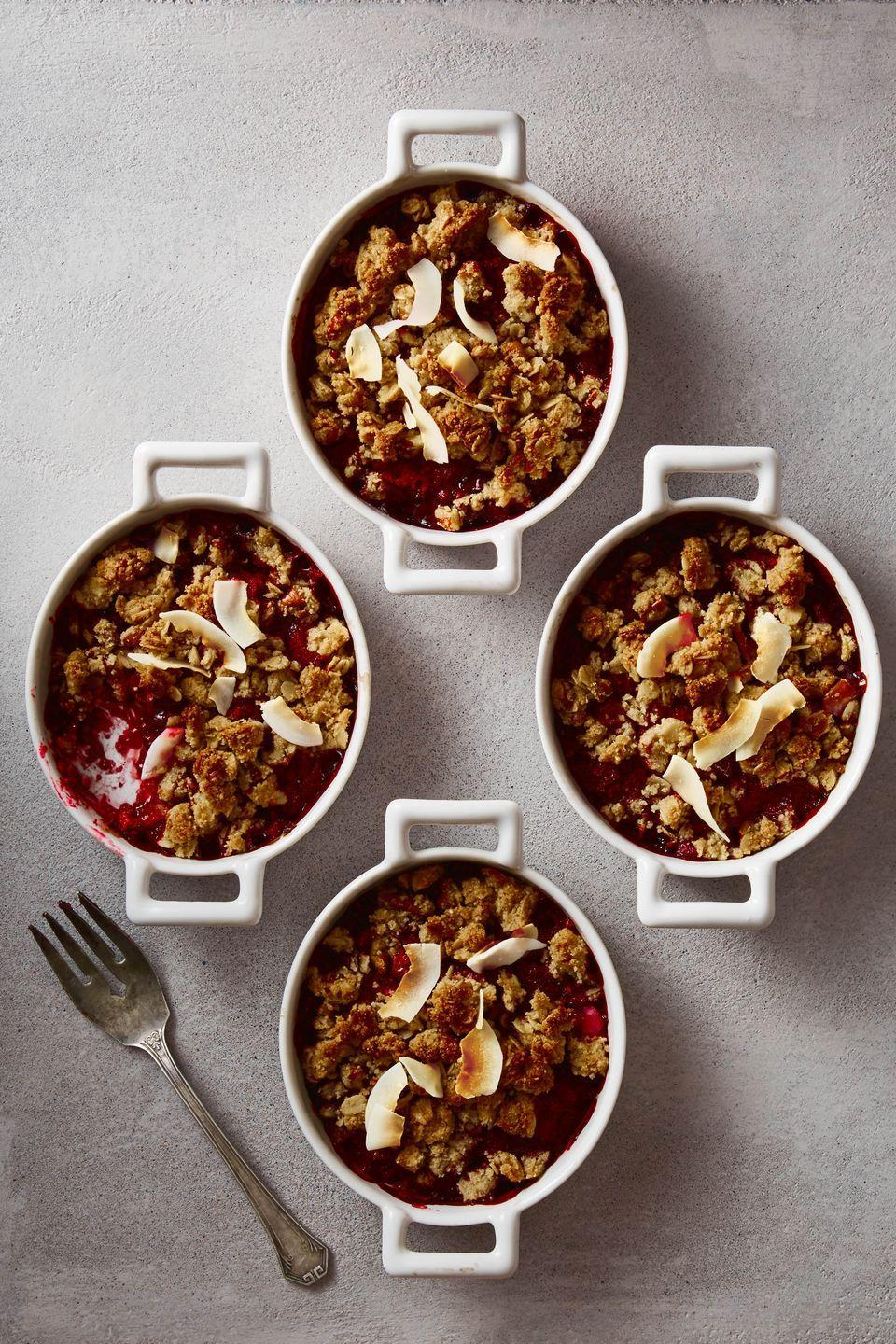"<p>This warm, nutty crumble relies on the natural sweetness in the berries instead of artificial sugars. </p><p><em><a href=""https://www.goodhousekeeping.com/food-recipes/dessert/a47526/berry-coconut-crumble-recipe/?visibilityoverride"" rel=""nofollow noopener"" target=""_blank"" data-ylk=""slk:Get the recipe for Berry Coconut Crumble »"" class=""link rapid-noclick-resp"">Get the recipe for Berry Coconut Crumble »</a></em></p>"
