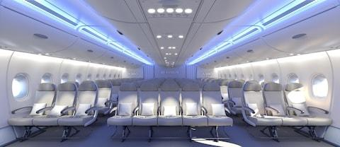11 abreast: more middle seats than you can shake a stick at