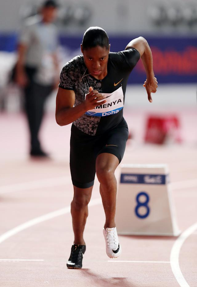 South Africa's Caster Semenya in action before winning the women's 800m in Doha (REUTERS/Ibraheem Al Omari)