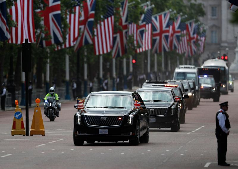 The convoy of U.S President Donald Trump drives down Pall Mall in London, Monday, June 3, 2019, on the opening day of a three day state visit to Britain. (Photo: Frank Augstein/AP)