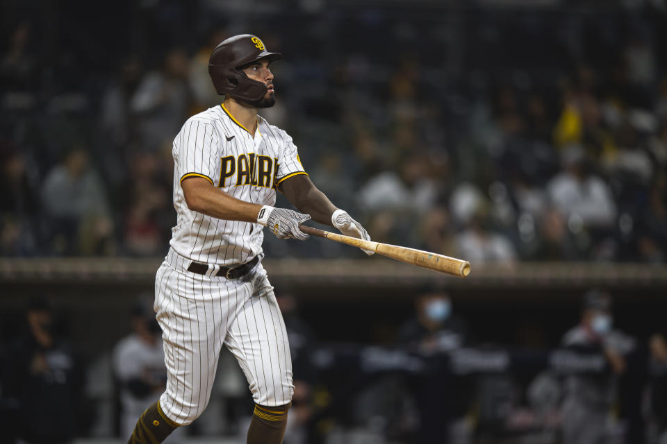 SAN DIEGO, CA - APRIL 02: Infielder Eric Hosmer #30 of the San Diego Padres hits a two-run home run in the bottom of the third inning against the Arizona Diamondbacks at Petco Park on April 2, 2021 in San Diego, California. (Photo by Matt Thomas/San Diego Padres/Getty Images)