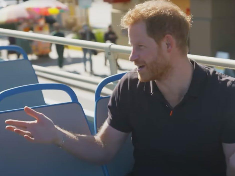 Prince Harry on an open-top bus in Los Angeles for The Late Late Show.