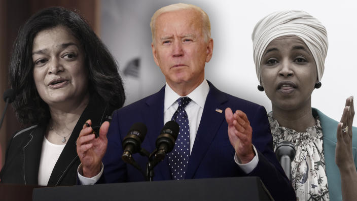 From left: Rep. Pramila Jayapal, D-Wash.; President Biden; Rep. Ilhan Omar, D-Minn. (Photo illustration: Yahoo News; photos: Chip Somodevilla/Getty Images, Andrew Harrer/Bloomberg via Getty Images, Drew Angerer/Getty Images)