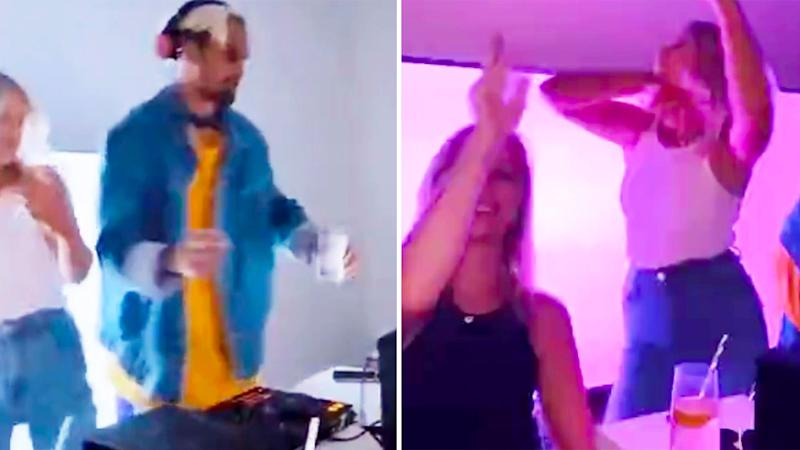 Three Fremantle players were seen on a social media video of a house party in Perth on Sunday. Pic: Instagram
