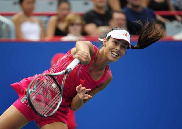 MONTREAL - AUGUST 9: Ana Ivanovic of Serbia serves to Roberta Vinci of Italy during round two of the Rogers Cup at the Uniprix Stadium on August 9, 2012 in Montreal, Quebec, Canada. (Photo by Robert Laberge/Getty Images)