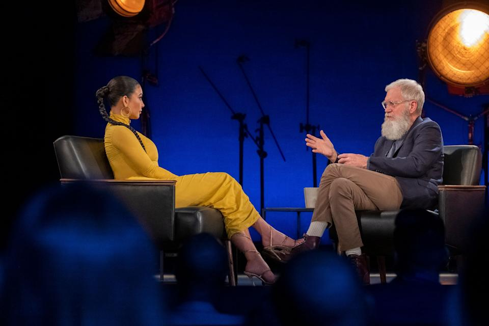 """Kim Kardashian sits down with David Letterman on the first episode of the new season of Netflix's""""My Next Guest Needs No Introduction."""" (Photo: netflix)"""