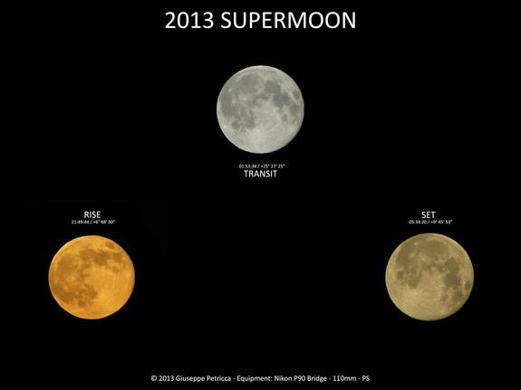 Astrophotographer Giuseppe Petricca sent in a composite image of three views of the supermoon taken on June 23/24, 2013, in Pisa, Tuscany, Italy.