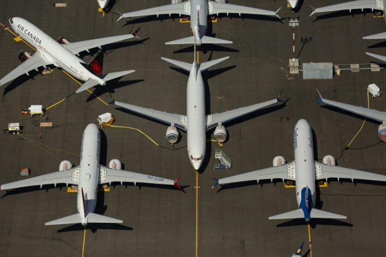 Boeing 737 MAX airplanes, photographed last month, sit idle near Boeing Field in Seattle, Washington