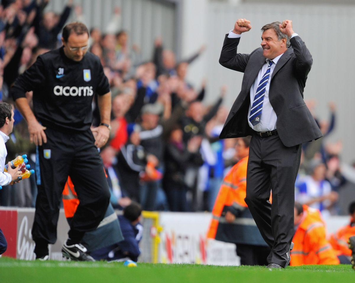 <p>2009: As Blackburn manager, celebrating victory in front of Aston Villa boss Martin O'Neill </p>