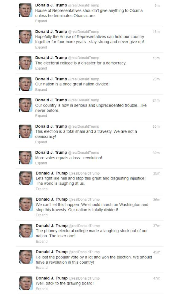 Donald Trump goes on a tweeting rampage over the election results. (Image from @realDonaldTrump/Twitter)