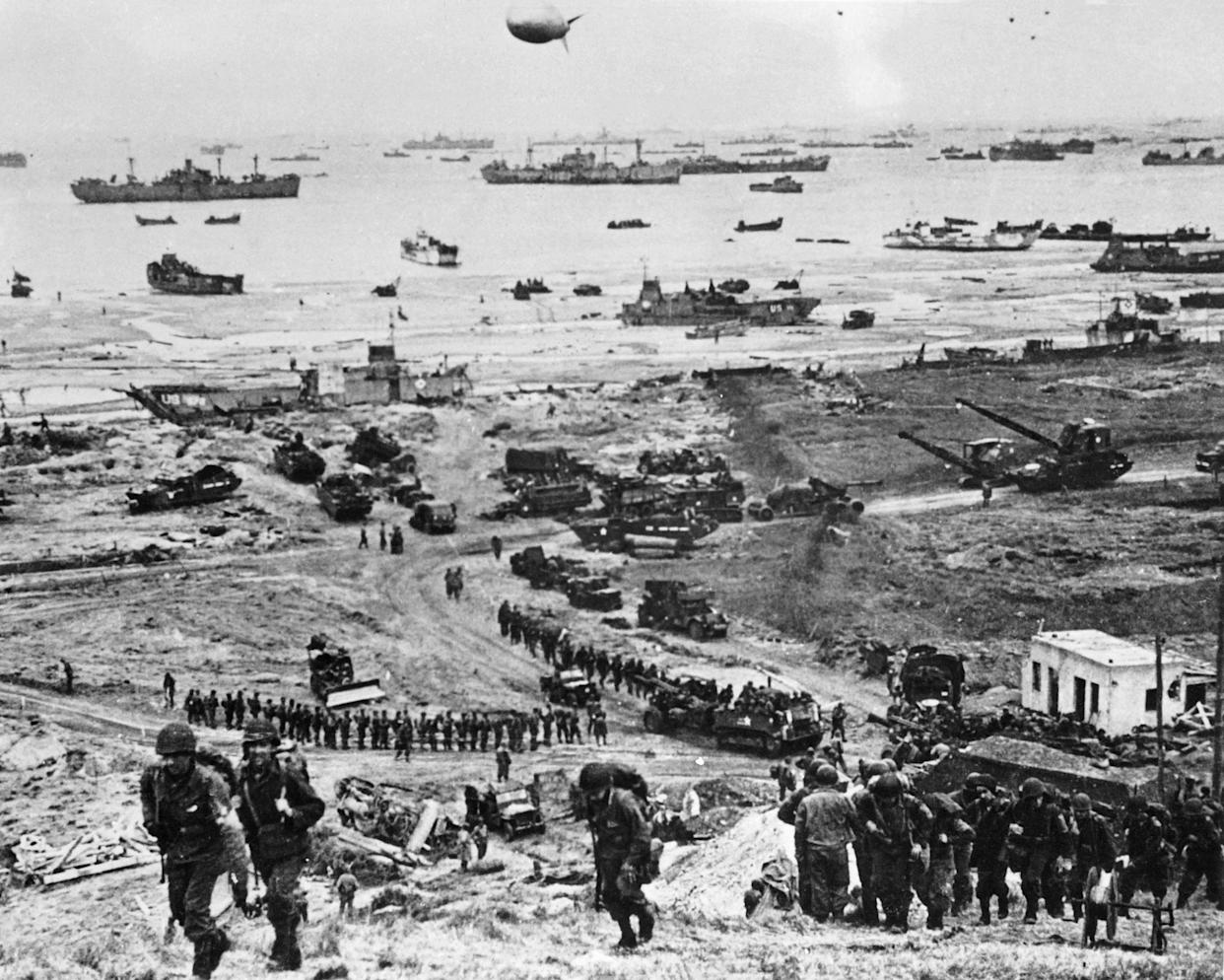 This file photograph taken on June 6, 1944, shows Allied forces soldiers during the D-Day landing operations in Normandy, north-western France.