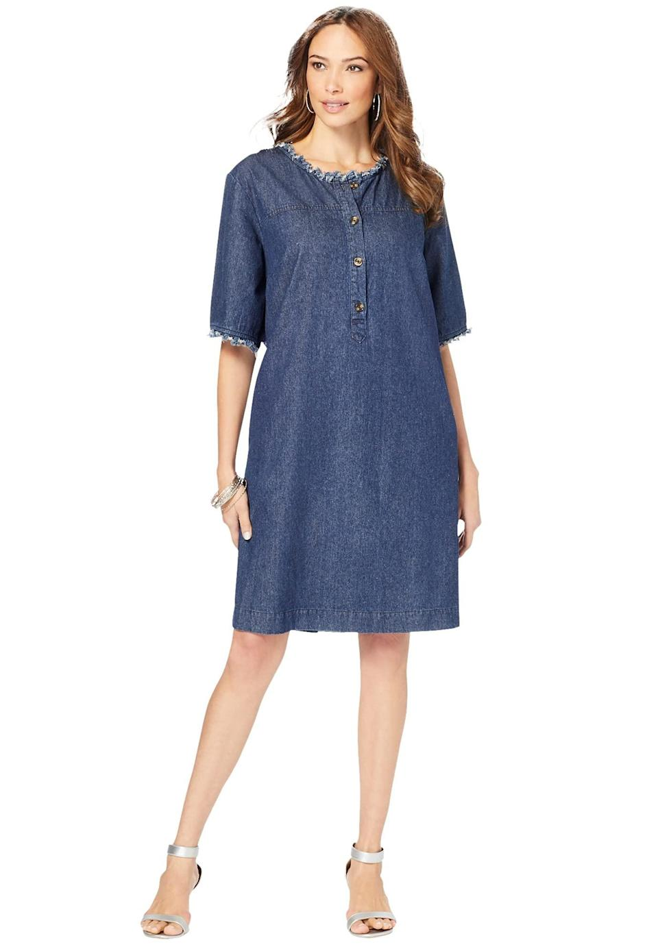 """<br><br><strong>Roaman's</strong> Plus Size Denim Shirt Dress, $, available at <a href=""""https://amzn.to/3CoG1l2"""" rel=""""nofollow noopener"""" target=""""_blank"""" data-ylk=""""slk:Amazon"""" class=""""link rapid-noclick-resp"""">Amazon</a>"""