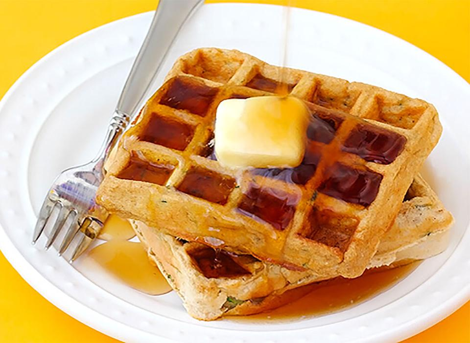 zucchini waffles with butter